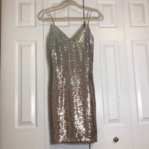 Silver sequin dress